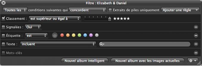 Figure. Palette de filtre affichant les critères de recherche Classement définis pour afficher les photos classées cinq étoiles.