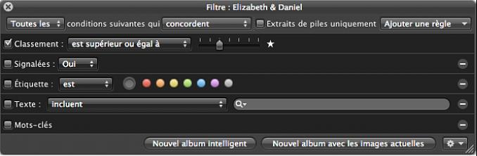 Figure. Palette de filtre affichant les critères de recherche Classement définis pour afficher les photos classées une étoile ou plus.