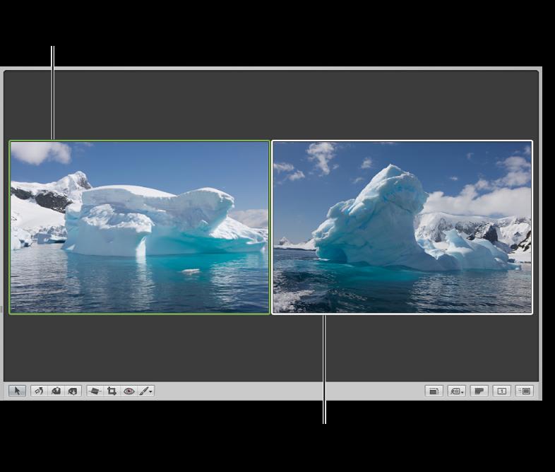 Figure. Visualiseur réglé pour comparer les images, avec l'image de comparaison entourée d'un cadre vert et l'autre image entourée d'un cadre blanc.
