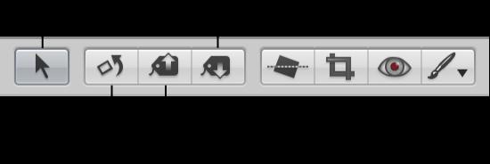 Figure. Outils de sélection et outils d'ajustement dans la bande d'outils.