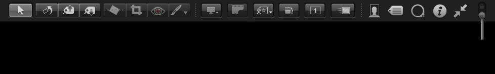 Figure. Commandes disponibles dans la barre d'outils de la présentation Plein écran