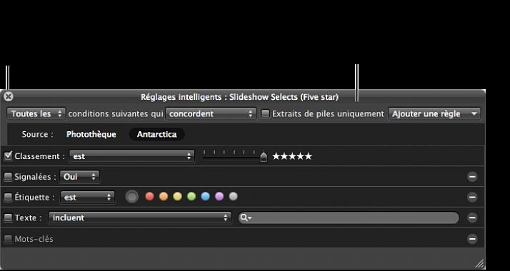 Figure. Palette de réglages intelligents d'un album intelligent.