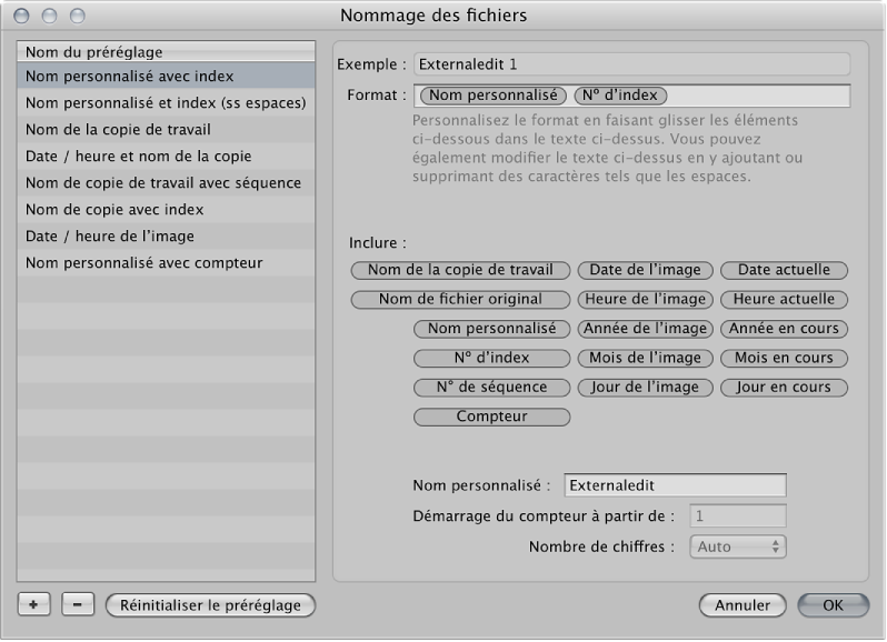 Figure. Zone de dialogue Nommage des fichiers.