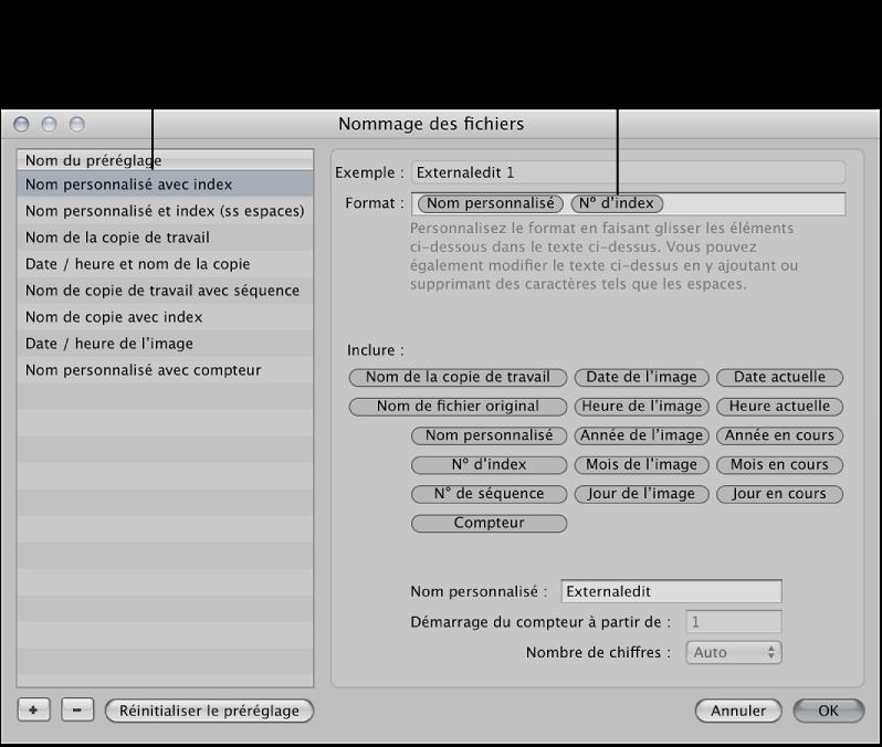 Figure. Préréglage Format de nom de fichier et structure d'élément de format dans la zone de dialogue Nommage des fichiers.