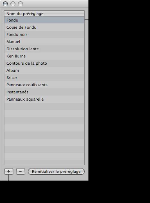 Figure. Préréglage de diaporama sélectionné et bouton Ajouter dans la zone de la liste Nom du préréglage de la zone de dialogue Diaporama.