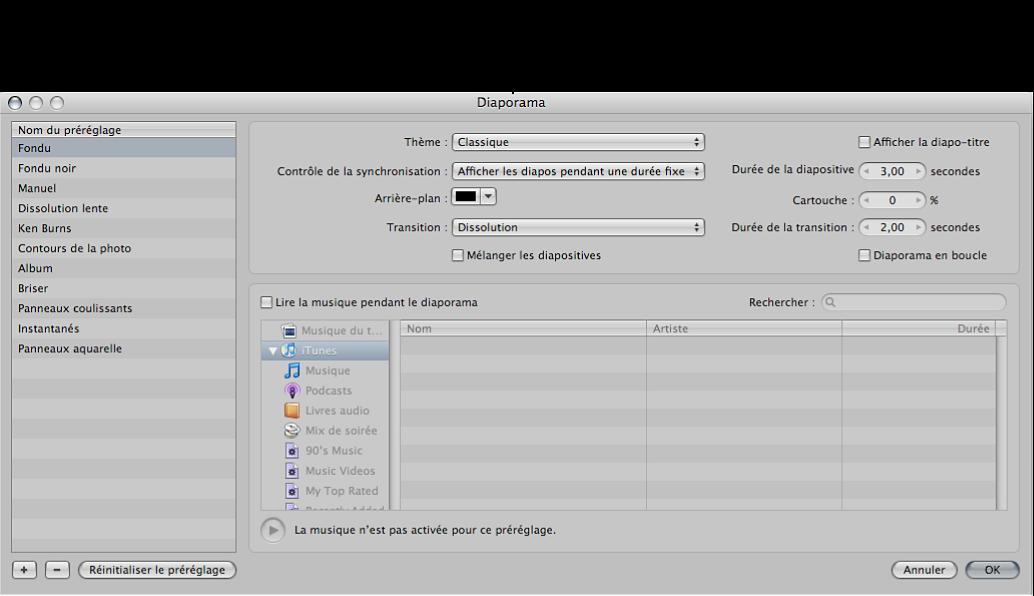 Figure. Commandes disponibles dans la zone de dialogue Diaporama.
