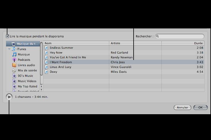 Figure. Commandes disponibles dans la zone du navigateur audio de la zone de dialogue Diaporama.