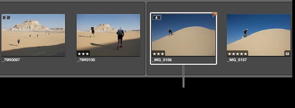 Figure. Deux piles ouvertes créées à partir de la pile précédente, avec l'image sélectionnée en position de meilleure image pour la nouvelle pile.