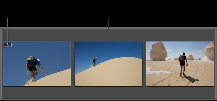 Figure. Pile contenant trois images similaires.