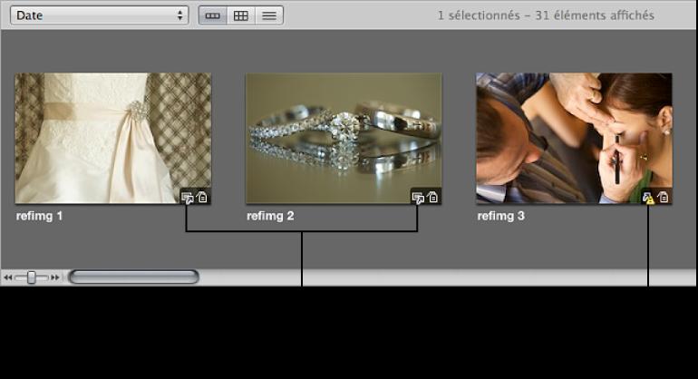 Figure. Images dans le navigateur affichant des incrustations de badges pour les images référencées en ligne et hors ligne.
