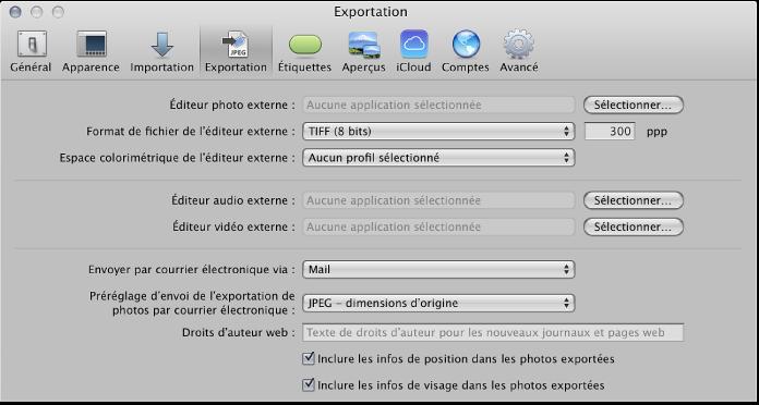 Figure. Commandes de la sous-fenêtre Exporter des préférences.