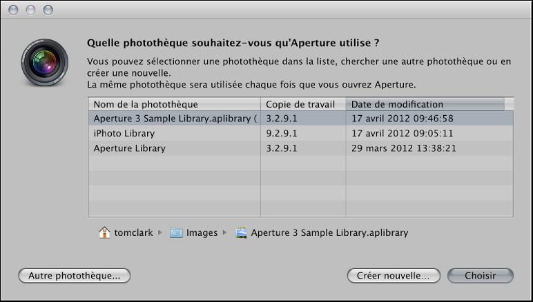 Figure. Commandes de la zone de dialogue Choisir une photothèque Aperture.