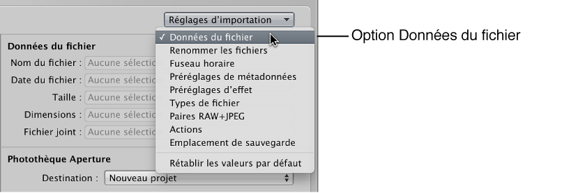 Figure. Menu local Réglages d'importation dans le navigateur d'importation.