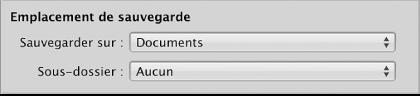 Figure. Commandes servant à définir l'emplacement de sauvegarde apparaissent dans le navigateur d'importation.