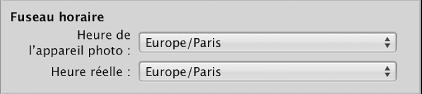 Figure. Réglages servant à définir le fuseau horaire apparaissent dans le navigateur d'importation.