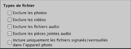 Figure. Commandes relatives au filtrage des fichiers dans le navigateur d'importation.