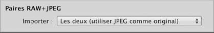 Figure. Commandes relatives aux paires RAW+JPEG dans le navigateur d'importation.
