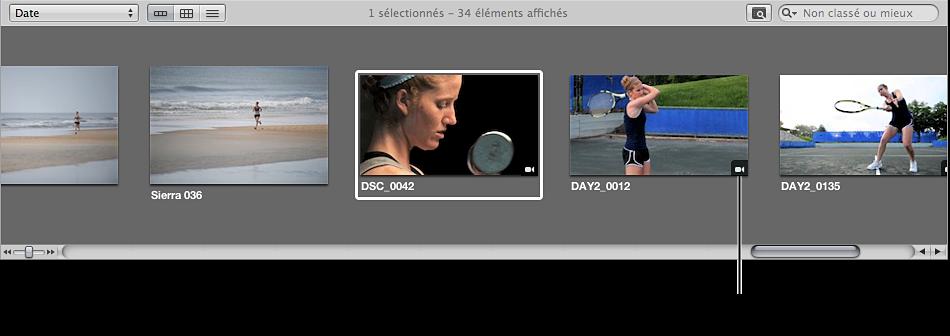 Figure. Badge de clip vidéo sur une vignette de clip vidéo dans le navigateur.