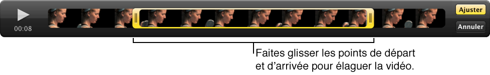 Figure. Points de départ et d'arrivée d'un clip vidéo dans le visualiseur.