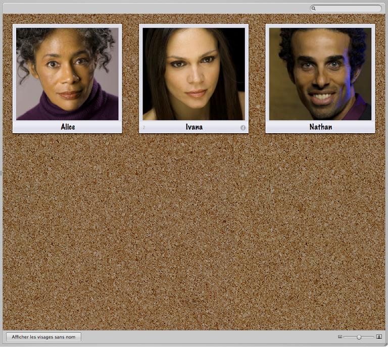 Figure. Instantanés de visages en présentation Visages.