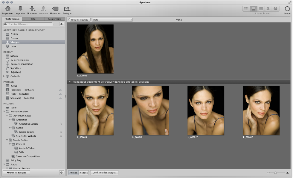 Figure. Les suggestions de correspondances d'un visage apparaissent en bas du navigateur des visages.