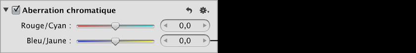 Figure. Commandes Bleu/Jaune disponibles dans la zone Aberration chromatique de l'inspecteur des ajustements.