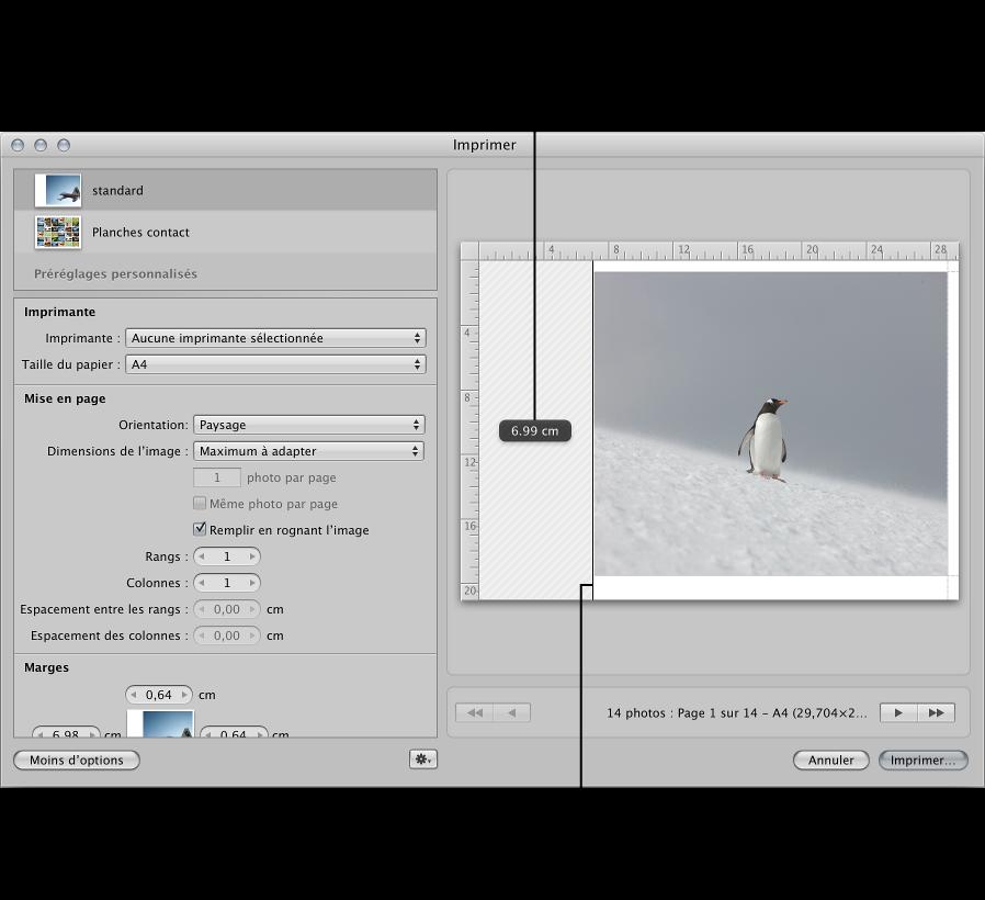 Figure. Glissement des marges pour redimensionner l'image dans la zone d'aperçu de la zone de dialogue Imprimer.