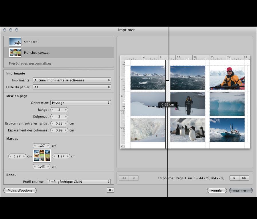 Figure. Espacement des lignes glissées entre les images dans une planche contact dans la zone d'aperçu de la zone de dialogue Imprimer.
