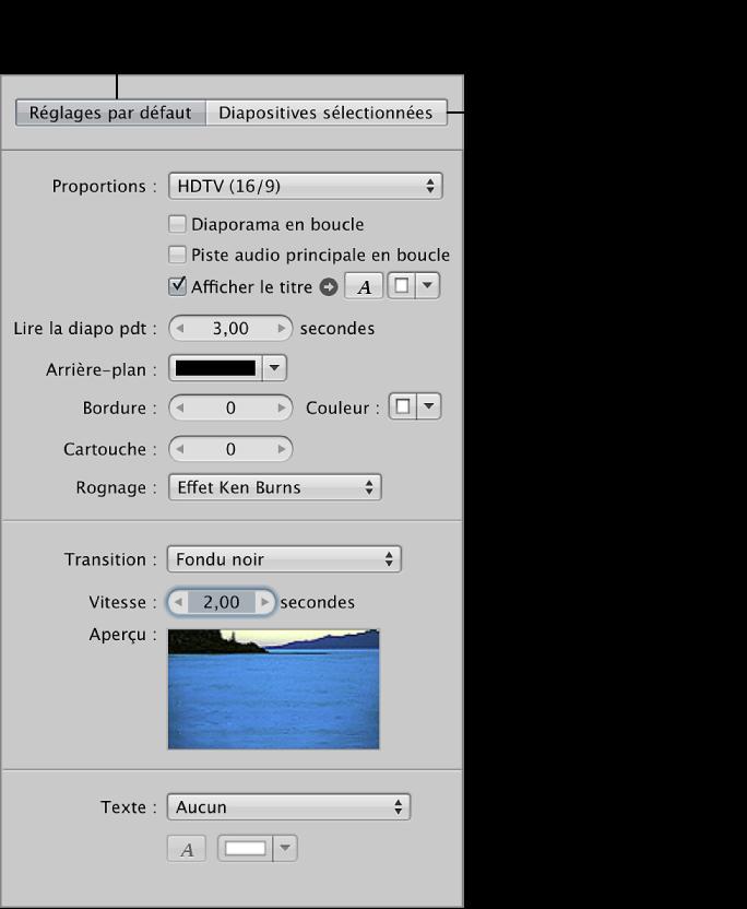 Figure. Sous-fenêtre Réglages par défaut de l'éditeur de diaporama.