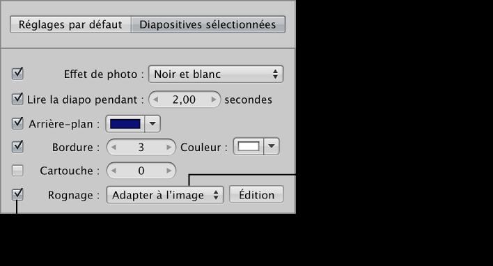 Figure. Commandes Rogner dans la sous-fenêtre Diapositives sélectionnées de l'éditeur de diaporama.