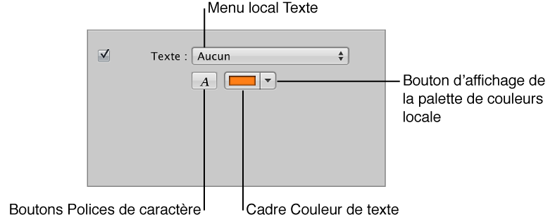 Figure. Commandes Texte dans la sous-fenêtre Diapositives sélectionnées de l'éditeur de diaporama.