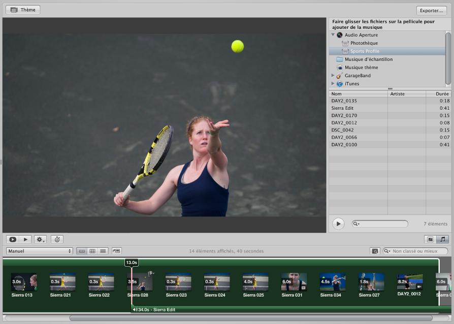 Figure. éditeur de diaporama et navigateur, avec le navigateur affichant un arrière-plan vert pour indiquer un clip sur la piste audio principale et une barre verte sous les vignettes pour indiquer un clip sur la piste audio secondaire.