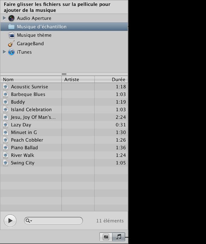 Figure. Commandes du navigateur audio dans l'éditeur de diaporama.