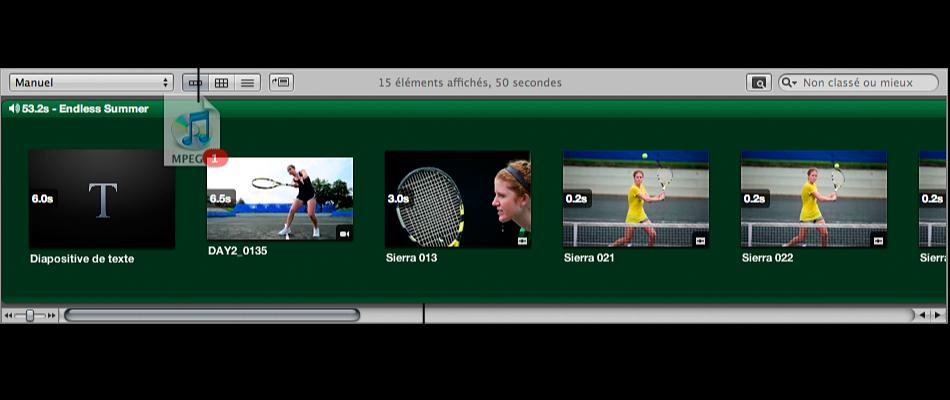 Figure. Clip audio glissé vers le plan de montage du navigateur et arrière-plan du navigateur apparaissant en vert.