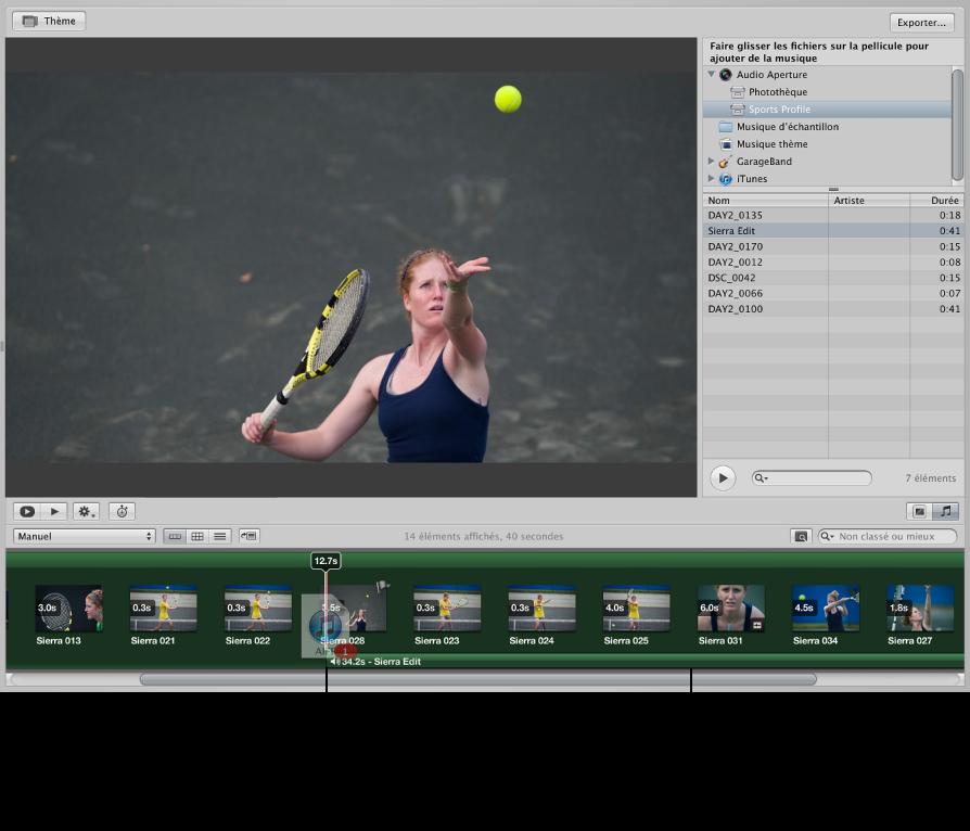 Figure. Clip audio glissé vers le plan de montage du navigateur et barre verte apparaissant sous les vignettes pour indiquer un clip sur la piste audio secondaire.