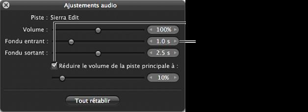 Figure. Commandes Fondu entrant de la palette des ajustements audio.