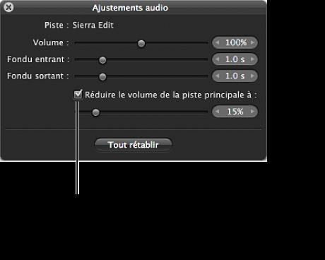 Figure. Commandes de la palette des ajustements audio pour diminuer le volume des clips de la piste audio principale.