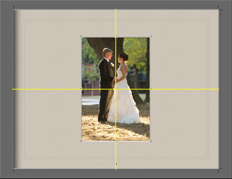 Figure. Repères d'alignement jaunes visibles au-dessus d'une image sur une page.