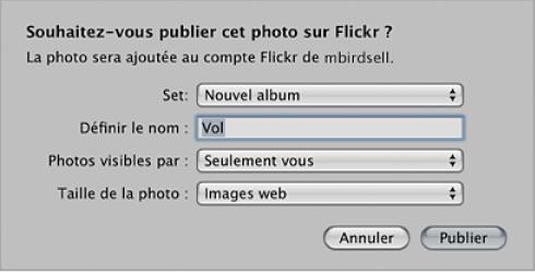 Figure. Zone de dialogue pour la création et la publication d'un album Flickr.