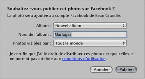Figure. Zone de dialogue pour la création et la publication d'un album Facebook.