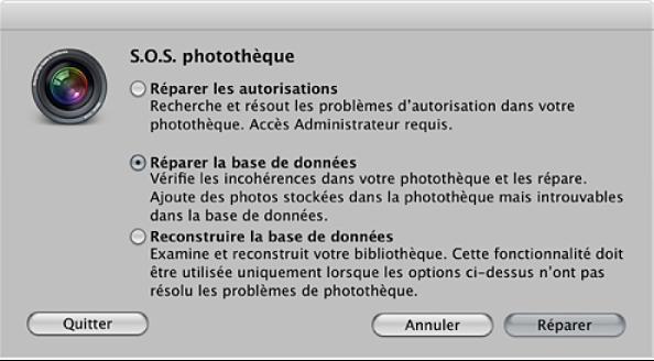 Figure. Commandes de la zone de dialogue S.O.S. photothèque.