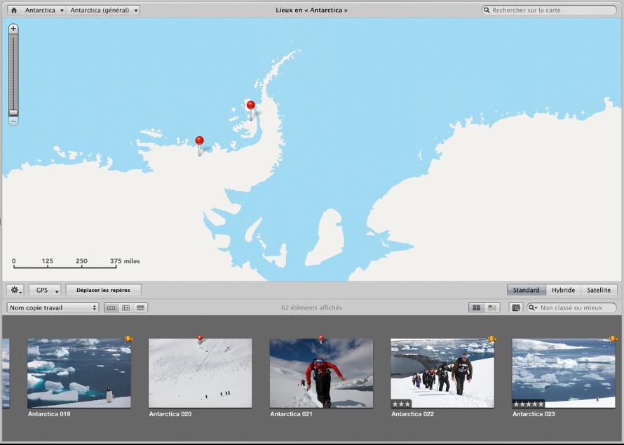 Figure. Présentation Lieux affichant une photo glissant du navigateur vers la carte.
