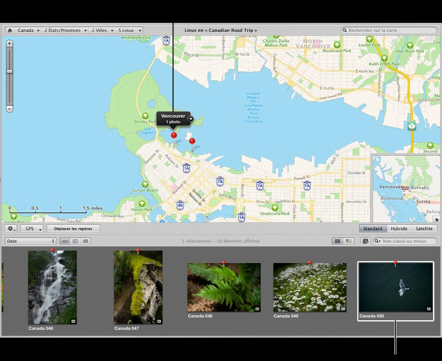 Figure. Présentation Lieux affichant une photo sélectionnée dans le navigateur et l'emplacement de l'image marqué d'un repère sur la carte.