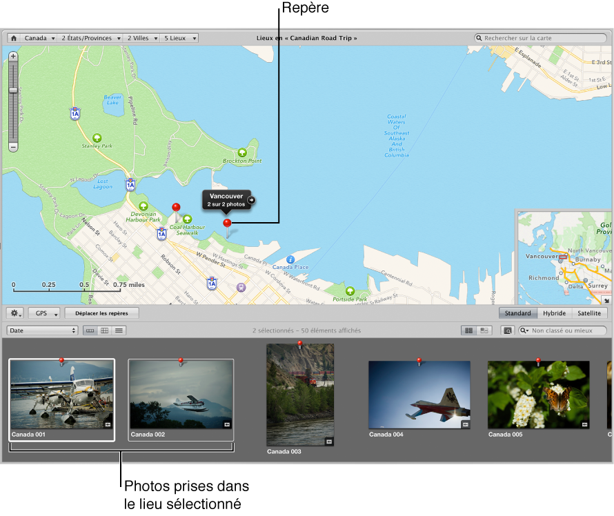 Figure. Présentation Lieux affichant un repère d'emplacement sélectionné sur la carte et les photos associées à cet emplacement sélectionnés dans le navigateur.