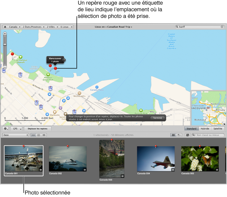 Figure. Présentation Lieux affichant le repère violet et l'étiquette d'emplacement qui apparaissent lorsqu'une image sélectionnée est glissée vers un emplacement sur la carte.