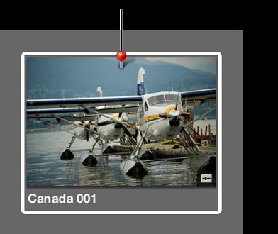 Figure. Badge d'emplacement au-dessus d'une vignette dans le navigateur indiquant que des informations d'emplacement ont été affectées à la photo.