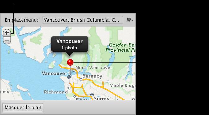 Figure. Boutons Zoom et repère d'emplacement dans la sous-fenêtre Carte de l'inspecteur d'informations.