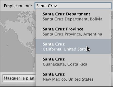 Figure. Sous-fenêtre Carte de l'inspecteur d'informations affichant le nom de l'emplacement saisi dans le champ Emplacement et un emplacement sélectionné dans la liste des résultats de recherche.
