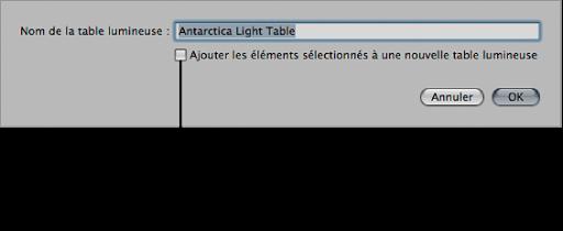 Figure. Zone de dialogue affichant la case «Ajouter les éléments sélectionnés à une nouvelle table lumineuse» non cochée.