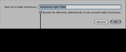 Figure. Zone de dialogue affichant la case «Ajouter les éléments sélectionnés à une nouvelle table lumineuse» cochée.